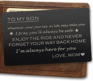 Wallet Cards Gift for Son from Mom Engraved Metal Wallet Insert for Son, Mini Love Note - To My Son Gift - Unique Gift to Son from Mother, Graduation Gift, Coming of Age Gift Perfect Son Birthday Gift