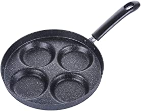 4-Cup Egg Frying Pan, Non Stick Aluminium Alloy Egg Cooker Pan, Fried & Poached Egg Burger Steak Pan, Breakfast Skillet Cooker for Home Kitchen Cooking Tool 24cm Black 15657975794040