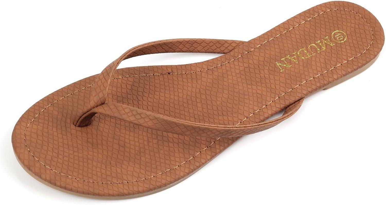 Mu Dan Womens Flip Flat Flat Thong Sandal (11 (B) M US, Tan)