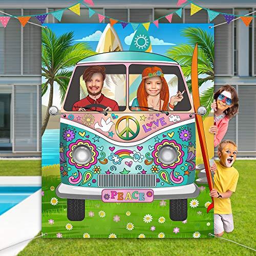 60er Jahre Thema Party Dekorationen Hippie Bus Foto Prop, Große Stoff Hippie Bus Hintergrund Foto Tür Banner Hintergrund lustige groovige Spiele liefert, 59 x 47,2 Zoll