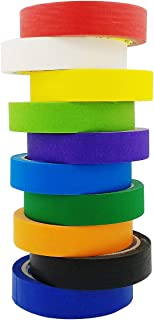 M-jump Multi Colored Masking Tape Painters Washi Tape - 10 Rolls Variety Set - 1in x 22yd Per set - Holiday Decorations Fun DIY Arts Supplies Kit for Little Kids, Toddlers & Adults