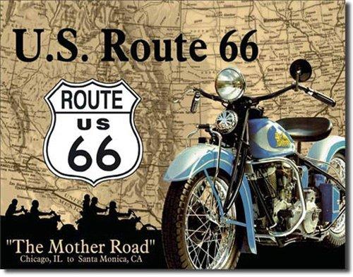 U.s. route 66 affiche sur tôle en fer blanc 41 x 32 cm
