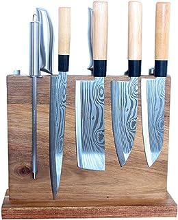 WLdehong Cuchillo De Cocina De Doble Cara Bloque De Cuchillos Magnéticos Soporte De Madera para Cuchillos, Soporte para Tijeras para Cubiertos Y Soporte De Exhibición