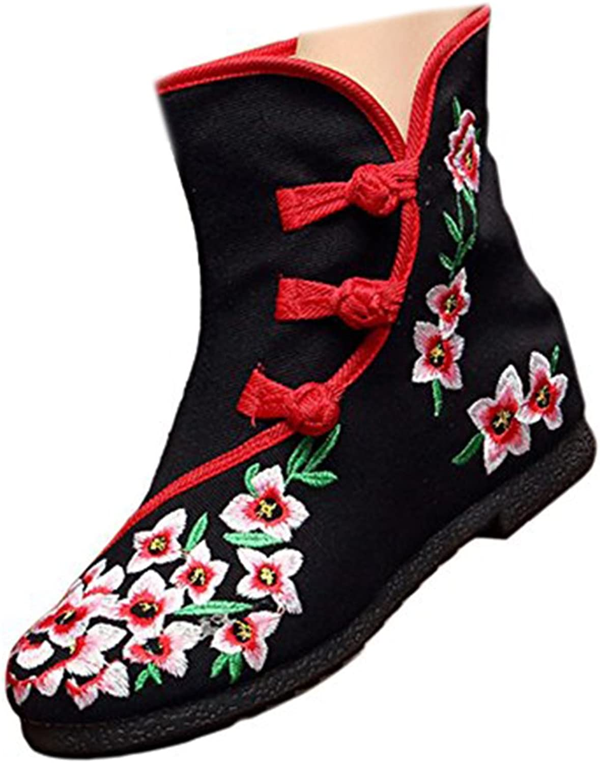 Shenghuajie Vintage Beijing Cloth shoes Embroidered Boots 12-02 Black