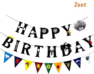 Game Birthday Party Decoration Pull Flag Banners-Black Letter Style HAPPY BIRTHDAY Banners Pennants Decoration(HAPPY BIRTHDAY&Black)