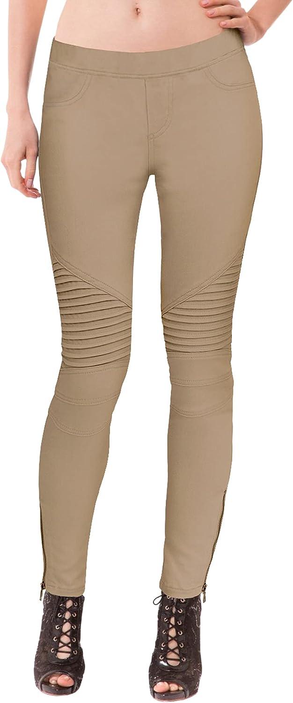 Hybrid & Company Womens Super Comfy Stretch Ankle Zip Moto Skinny Pants