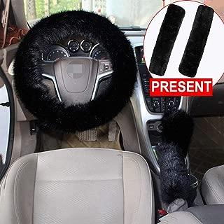 Forala 1 Set 5 Pcs Car Steering Wheel Cover Handbrake Cover Gear Shift Cover Set Seat Belt Shoulder Pads Faux Wool Warm Winter (Black)
