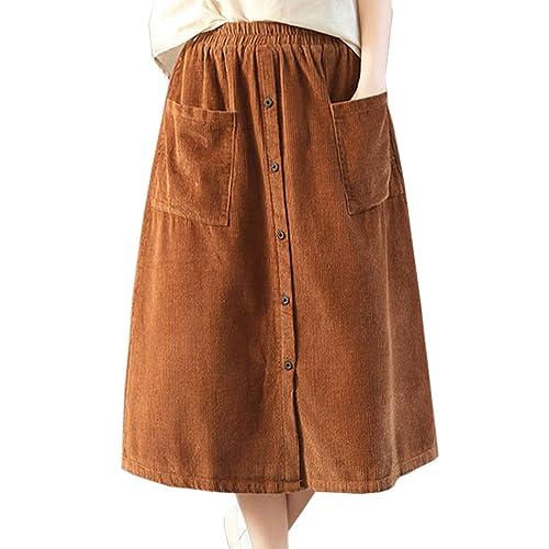 b71940298b Flygo Women's Elastic Waist Button A-Line Corduroy Midi Long Skirt with  Pockets