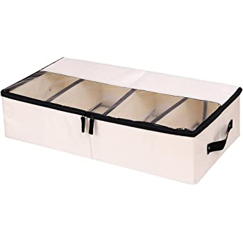 Beige) - Clothes Shoes Organiser Multifunction Foldable Under the Bed Storage Box with Dust-proof Lid 4 Compartment: Amazon.es: Hogar
