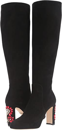 Suede Knee Boot with Jewel Embellished Heel