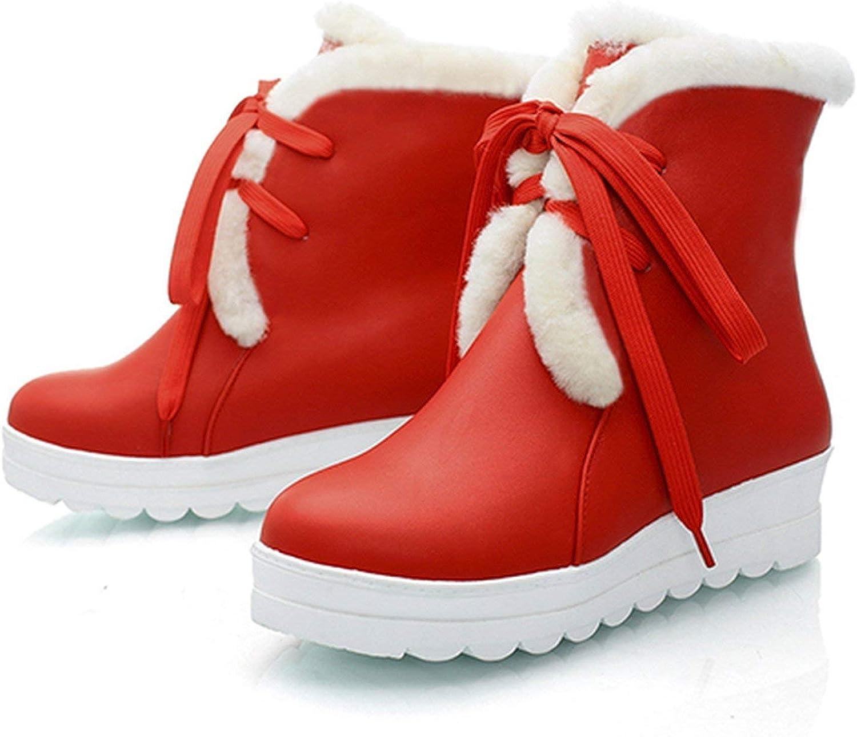 Summer-lavender Black Warm Winter shoes Women Flat Heels Plush Inside Platform Cotton Snow Boots