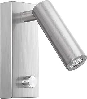 Meanyee Lámpara de lectura de pared Cabecera luz de cabecera con interruptor giratorio/regulable/brazo ajustable/níquel cepillado / 3000K Osram LED (instalación de superficie)