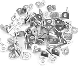 Eliseo 50 Pack Stainless Steel 90 Degree Angle L Shaped Bracket,Corner Brace Joint Bracket Fastener, 20mm x 20mm x 16mm, Silver Tone, Round End, 2 Holes, Metal