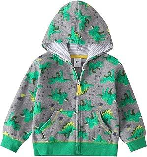 Mousmile Toddler Baby Boys Girls Hoodie Cartoon Dinosaur Prints Hooded Jacket Long Sleeve Thick Windproof Coat Outwear