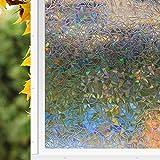 Zindoo Regenbogenfarben Fensterfolie Dekorfolie Sichtschutzfolie Hochwertige Ohne Klebstoffe 3D Regenbogen Effekt unter Licht, Statisch Folie Anti-UV 45 * 300cm