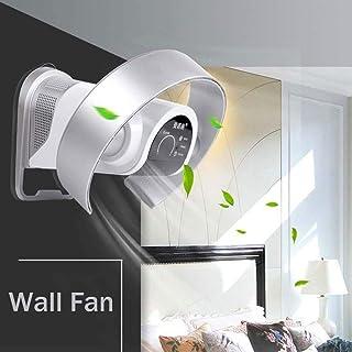 Ventilador plegable sin hoja con mando a distancia, 9 velocidades/sacudientes, la cabeza Ultra-Silencioso, ventilador de pared, ventilador de escritorio, color plateado y blanco, White