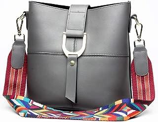 Fashion New Trend Casual Fashion Bills Shoulder Slung Large Capacity Mother Bag Leather Handbag (Color : Gray)