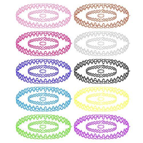 BodyJ4You 30PC Choker Necklace Bracelet Ring Set Multicolor Stretch Elastic Jewelry Girls Kids Gift