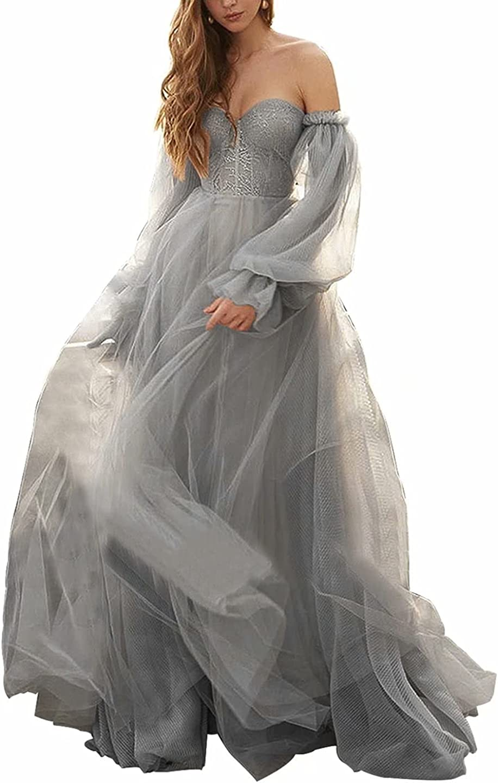 WDBFY Puffy Sleeve Prom 割引も実施中 Dresses Off Sweetheart Tul 予約 Shoulder Long