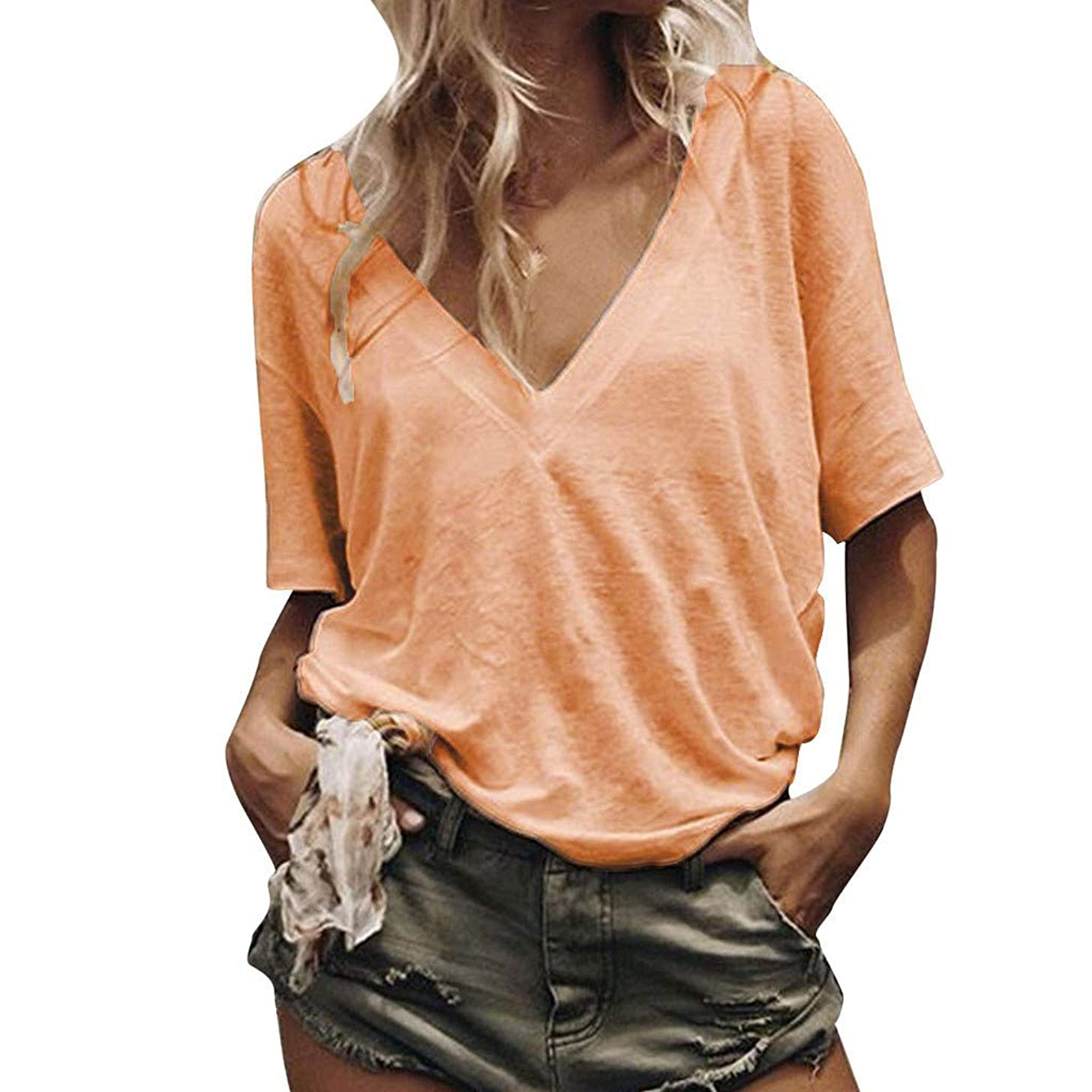 Nuewofally Women's V Neck T Shirt High Low Side Split Tunic Tops Summer Short Sleeve Loose Casual Tee T-Shirt (Orange,2XL)