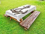 ABAKUHAUS Nautical Tattoo Outdoor-Tischdecke, Cruise Sign Sketch, dekorative waschbare Picknick-Tischdecke, 145 x 210 cm, Schokolade und Weiß