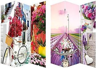 Home Line Biombo Separador de ambientes, Bicycle and Flowers, Provenzal. para el Salon/recibidor. Bastidor de Madera.180x120 cm.