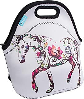 Lunch Boxes OFEILY Lunch Tote Lunch Bags with Neoprene (Middle Flower Horse)
