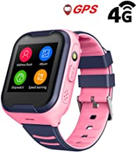 Kids Waterproof GPS Smart Watch, Laxcido 4G Children Video Phone Call Real-time Tracking Camera SOS Alarm Geo-Fence Touch Screen Monitoring Health Steps Flashlight Anti-Lost GPS Tracker Watch (Pink)