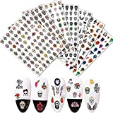 Halloween Nail Art Stickers Decals 3D Self-Adhesive 500+Pcs Sugar Skull Nail Design for Acrylic Nail Supplies for Halloween Manicure Salon Nails Decoration (7 Sheets)