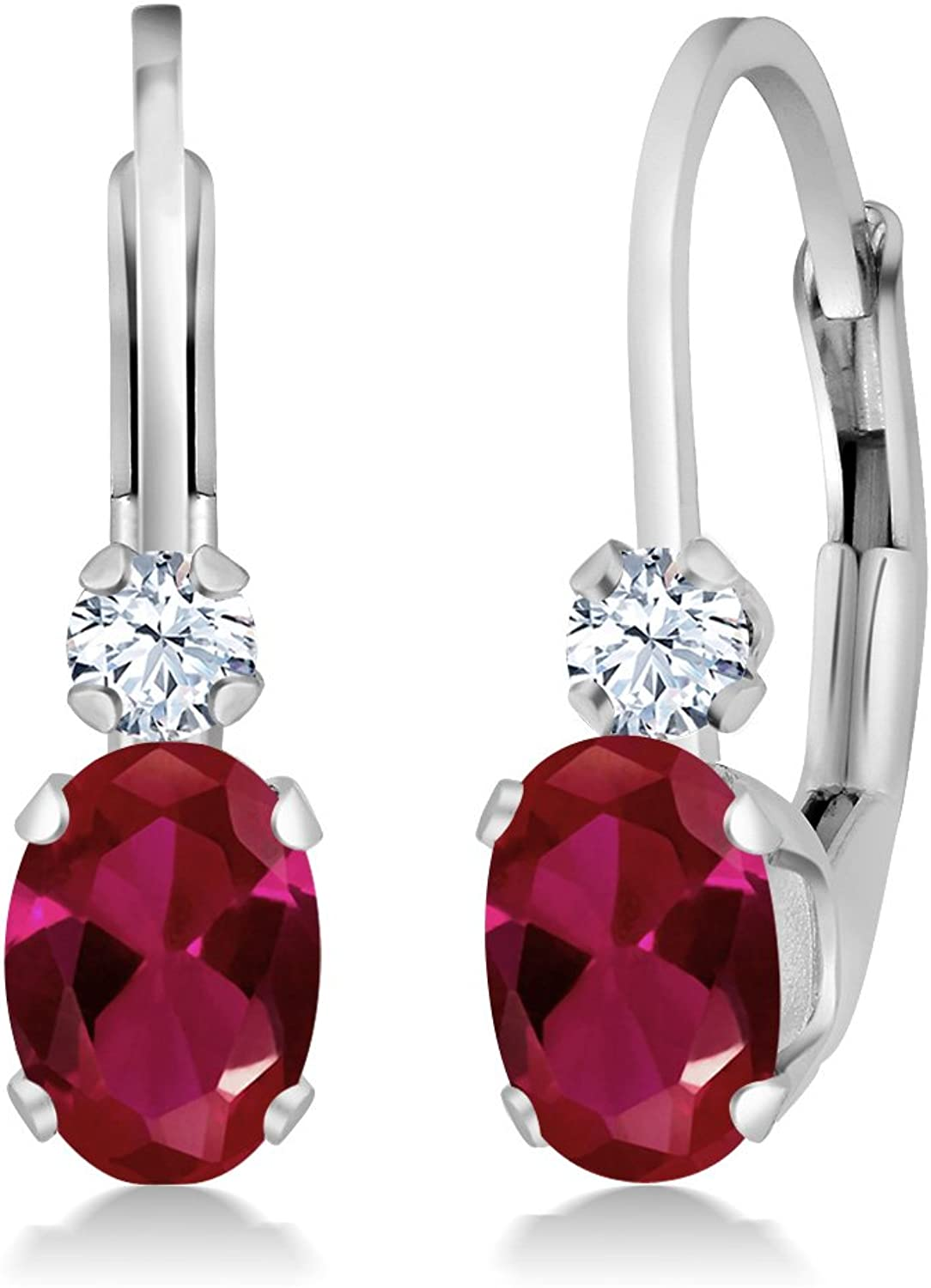 1.08 Ct Oval Red Created Ruby White Created Sapphire 14K White gold Earrings