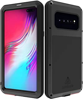 LOVE MEI Samsung Galaxy S10 5G Case with Tempered Glass Screen Protector, Shockproof Dustproof Scratch Proof Hybrid Metal and Silicone Gel Heavy Duty Tank Case for Samsung S10 5G (Black)