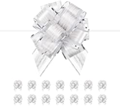 PACKQUEEN 15 Silver Gift Bows Large, 6 inches, Gift Pull Bows for Presents, Gift Bows Bulk for Baskets