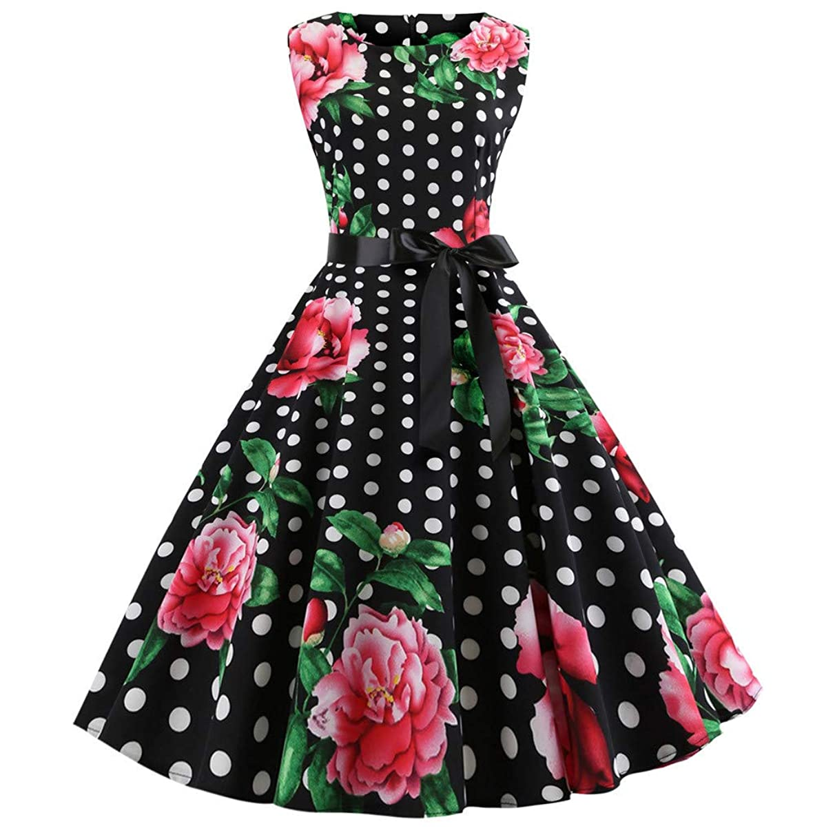 Clearance! Vintage Sleeveless Dress,Oliviavan Women's Floral Print Casual Evening Party Prom Swing Dress
