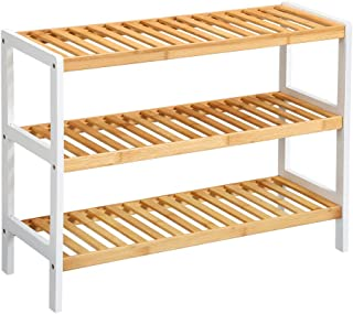 LANGRIA 3 Tier Bamboo Shoe Rack, Free Stand Storage Shelf for Boots Heels Holder, Holds Up to 12 Pairs, 27.5 in W x 9.8 in D x 21.7 in H, Ideal for Entryway Hallway and More