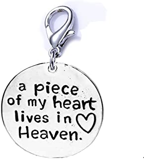 SEXY SPARKLES Memorial Charm for Your Lost Ones a Piece of My Heart Lives in Heaven Clip on Lobster Clasp Charm