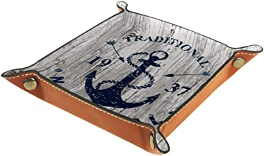 Marine Style Anchor and Arrow Nautical Marine Valet Tray Storage Organizer Box Coin Tray Key Tray Nightstand Desk Microfiber Leather Pouch,16x16cm