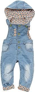 Baby & Little Boys/Girls Denim Light Blue Soft Cute Hooded Overalls
