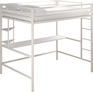 Novogratz 4371129N Maxwell Metal Full Loft Desk & Shelves, White Bunk Beds,