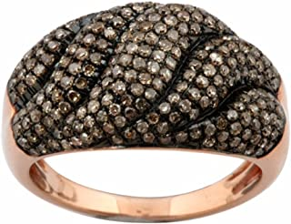 Dazzlingrock Collection 1.00 Carat (ctw) Round Champagne Diamond Ladies Cocktail Right Hand Ring 1 CT, Sterling Silver