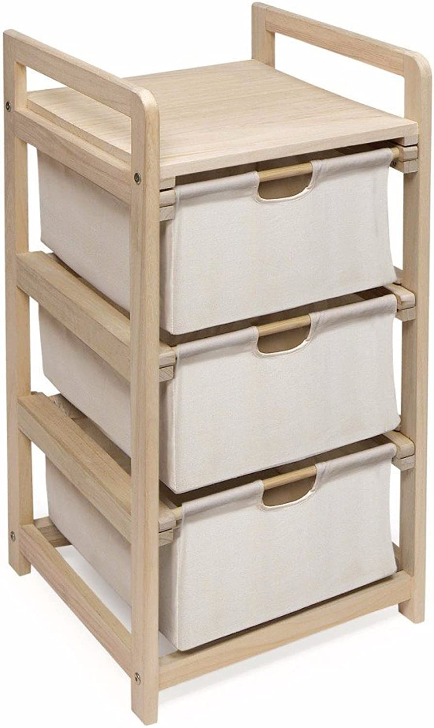 Wooden Hamper Storage Organizing Unit with 3 Cloth Drawers