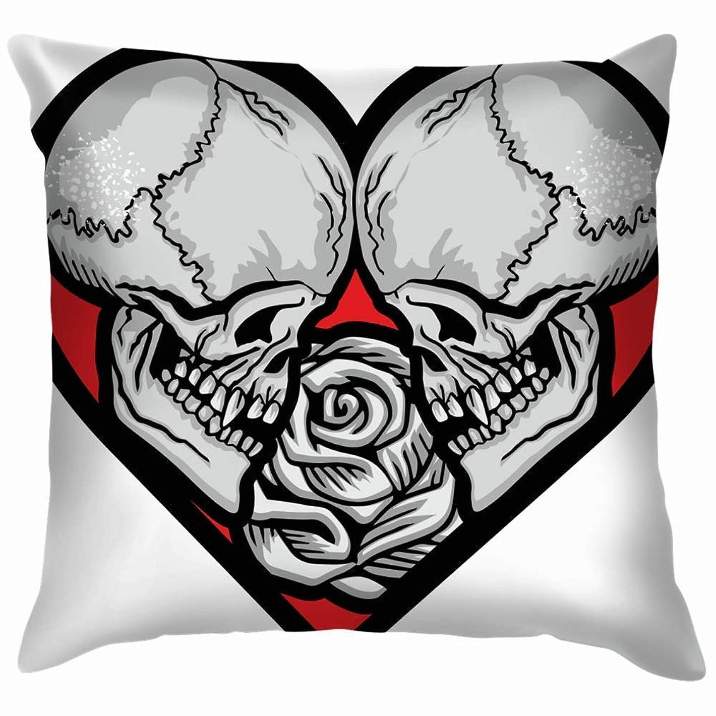 二十思いやり俳優バレンタインスカルハートグランジヴィンテージデザインスロー枕カバーホームソファクッションカバー枕ギフト45x45 cm