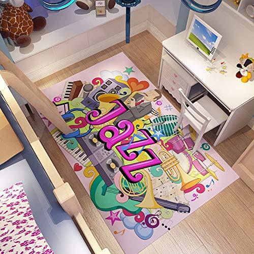 CXJC 0,6 cm espesor deportivo Fitness Mat, impresión creativa de graffiti y patrón de teñido alfombra, sala de estar dormitorio estudio mesa de estudio y silla de almacenamiento antideslizante