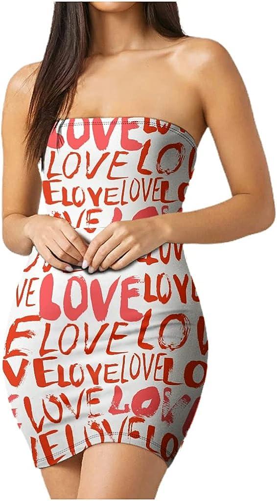 Love Women's Tube Top Dress Strapless Short Club Summer Dress Sexy Cute