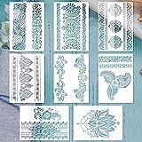 burkfeeg 8 Piezas Plantillas de Dibujo, Plantilla de Pintura de Encaje Plantillas de Mandala Manualidades Painting Stencils para Pintar Sobre Muebles y Paredes (21*29cm)