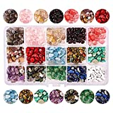 Olymajy 15 Colores kit de cuentas de piedras preciosas irregulares piedras colores Grava de Forma Irregular Natural, para Manualidades de Bricolaje Pulseras Pendientes Collares