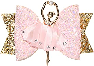 Simdoc Ballerina Glitter Hair Bow Sparkly Sequin Alligator Hair Clip Hair Barrettes Accessory For Girls Toddlers Kids Teens