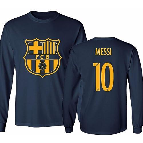 3184f420b89 KING THREADS Barcelona Soccer Shirt Lionel Messi #10 Futbol Jersey Men's  Long Sleeve T-