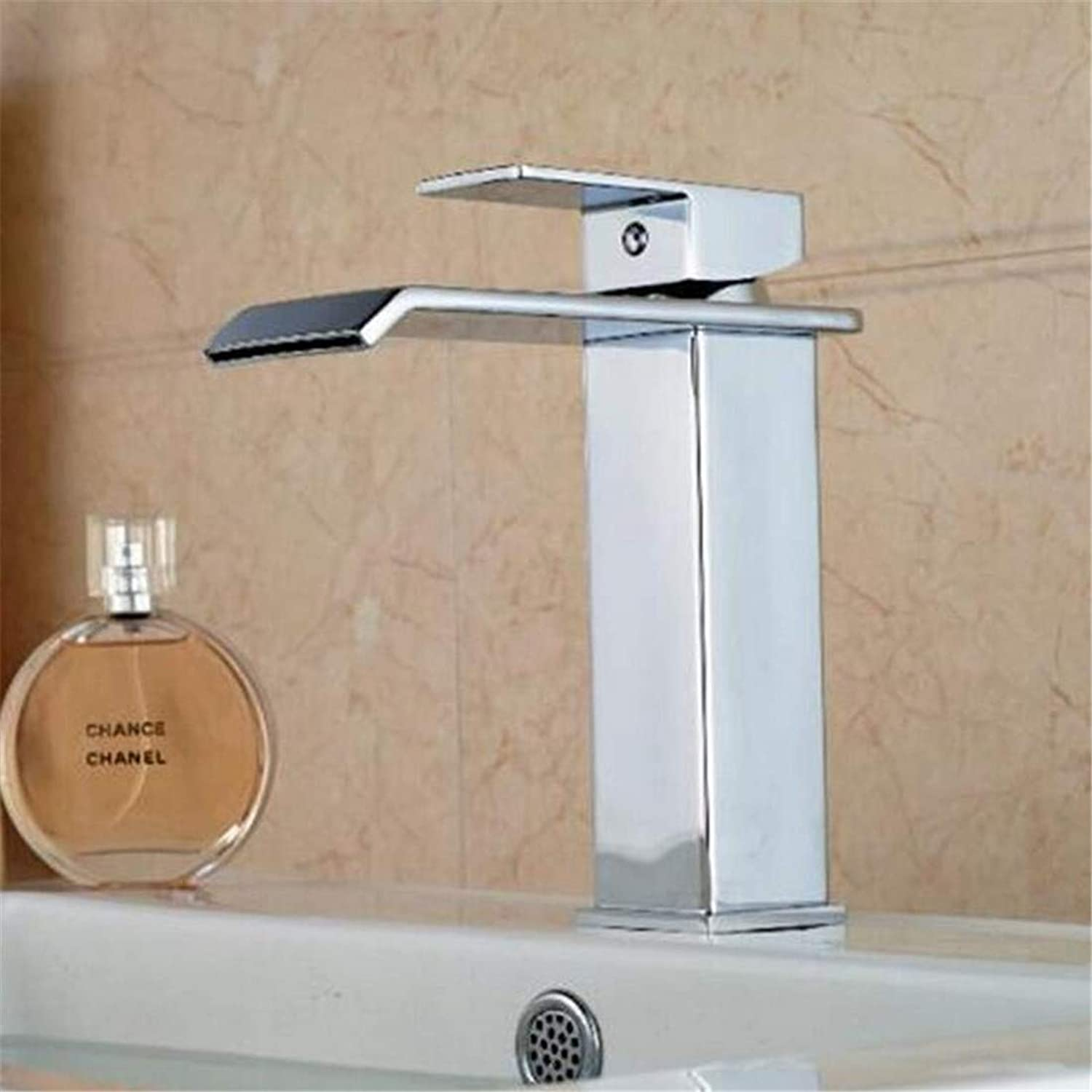 Kitchen Hot and Cold Water Brass Chrome Basin Mixer Bathroom Faucet Basin Sink Faucet Single Handle One Hole with Hot and Cold Water Bathroom
