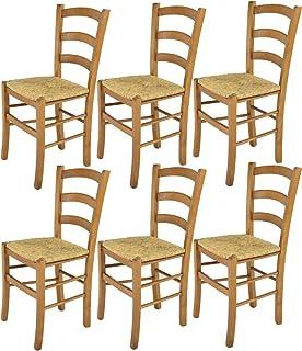 Tommychairs - Set 6 sillas Venice para Cocina y Comedor Estructura en Madera de Haya Color Roble y Asiento en Paja