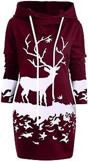 TianWlio Womens Christmas Hoodie Dress Reindeer Printed Drawstring Hooded Winter Warm Fuzzy Coat Jacket